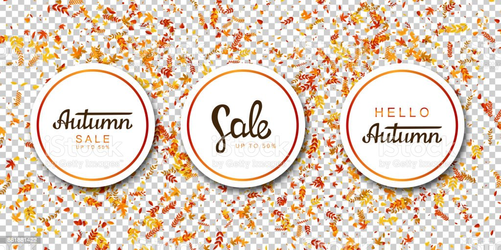 Vector set of realistic isolated sale advertising flyer banners with falling leaves confetti for promotion and decoration on the transparent background. Concept of Happy Autumn and season discount. vector art illustration