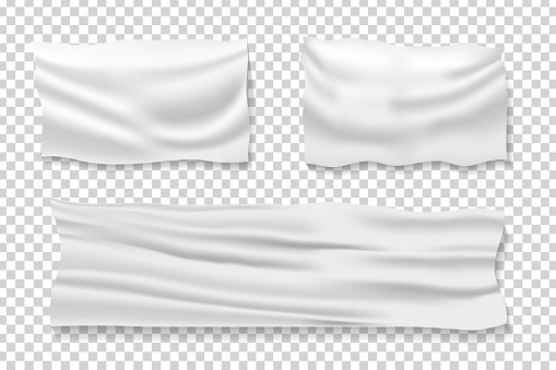Vector set of realistic isolated satin fabric banners for decoration and covering on the transparent background.