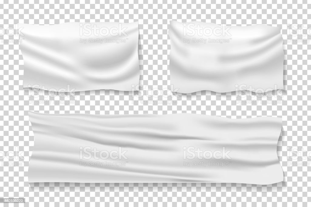 Vector set of realistic isolated satin fabric banners for decoration and covering on the transparent background. vector art illustration