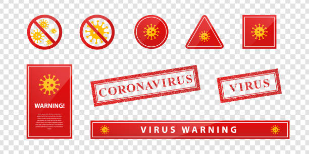 Vector set of realistic isolated warning signs of Virus and Coronavirus for template decoration on the transparent background. Vector set of realistic isolated warning signs of Virus and Coronavirus for template decoration on the transparent background. biohazardous substance stock illustrations
