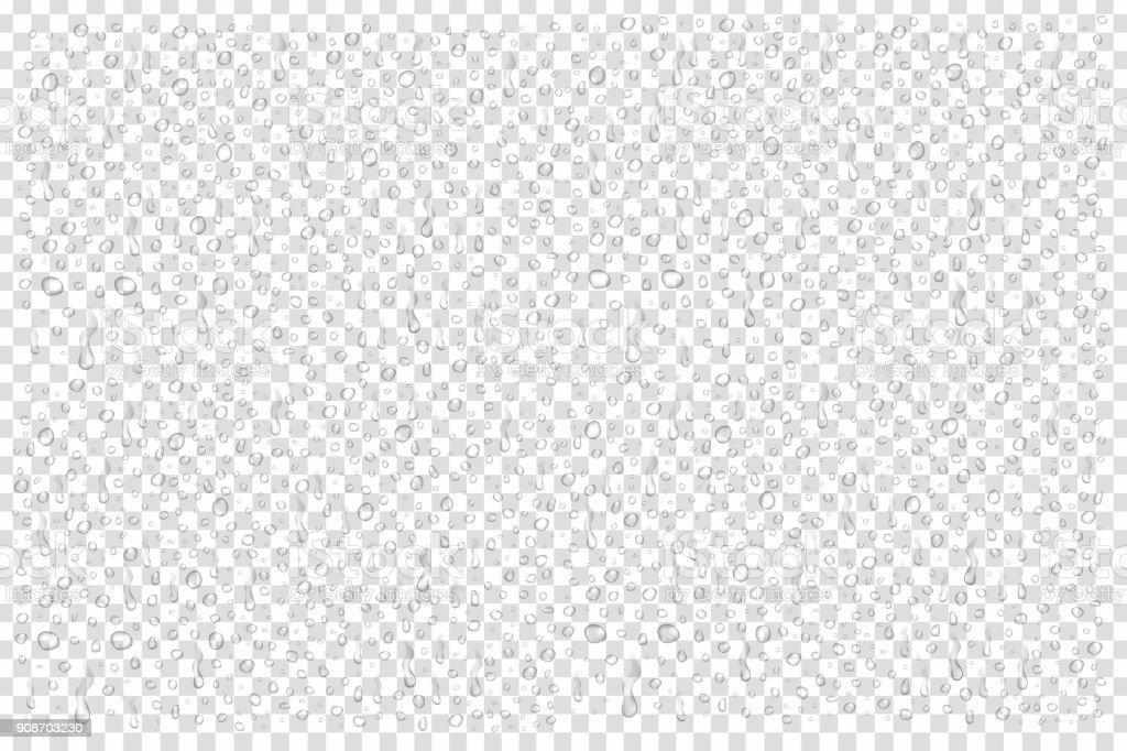 Conjunto de vectores realistas aisladas de gotitas de agua sobre el fondo transparente. ilustración de conjunto de vectores realistas aisladas de gotitas de agua sobre el fondo transparente y más vectores libres de derechos de abstracto libre de derechos