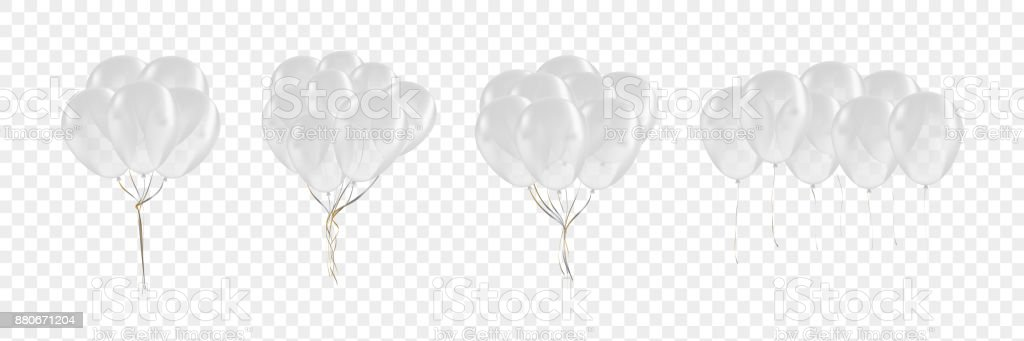 Vector set of realistic isolated white balloons for celebration and decoration on the transparent background. Concept of happy birthday, anniversary and wedding. vector art illustration