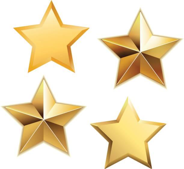 wektorowy zestaw realistycznych metalicznych złotych gwiazd wyizolowanych na białym tle. - kształt gwiazdy stock illustrations