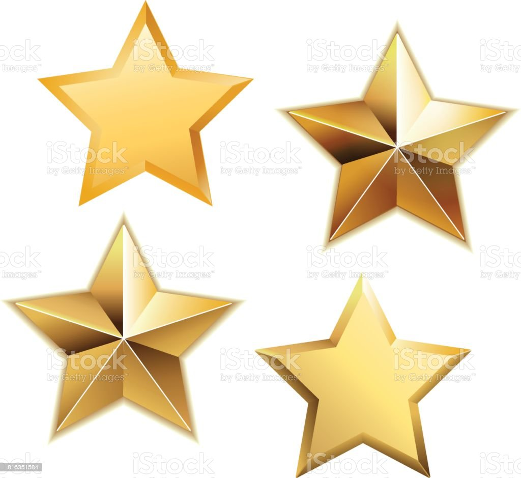 Vector set of realistic metallic golden stars isolated on white background. vector art illustration