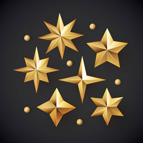 Vector set of realistic metallic golden stars isolated on white background. Glowing realistic golden stars background isolated on black.  celebrities stock illustrations