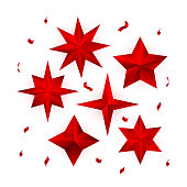 Vector set of realistic metallic red stars isolated on white background.