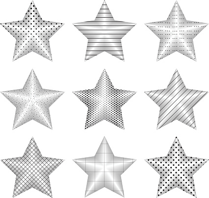 Vector set of realistic metallic silver stars isolated on white background.