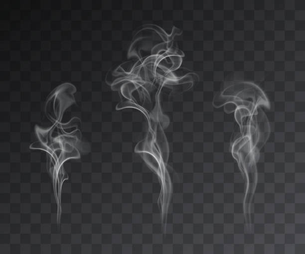 vector set of realistic smoke effects on dark background - smoke stock illustrations