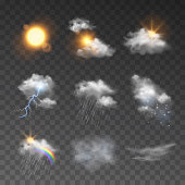 Vector set of realistic style weather forecast icons on dark background