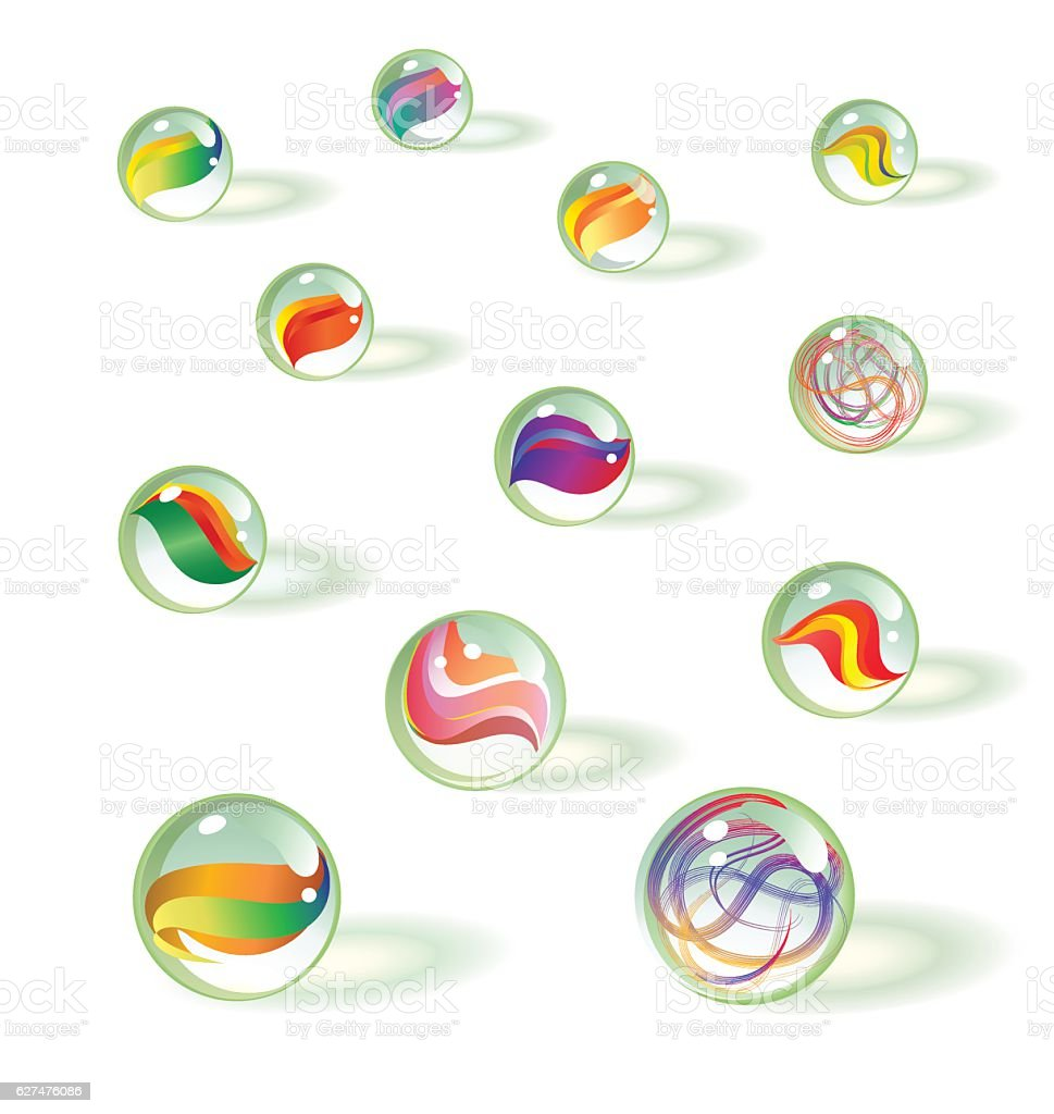vector set of realistic toy glass marbles with reflective shadows vector art illustration