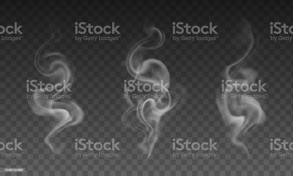 Vector set of realistic transparent smoke effects - cigarette smoke, coffe or hot tea steam vector art illustration