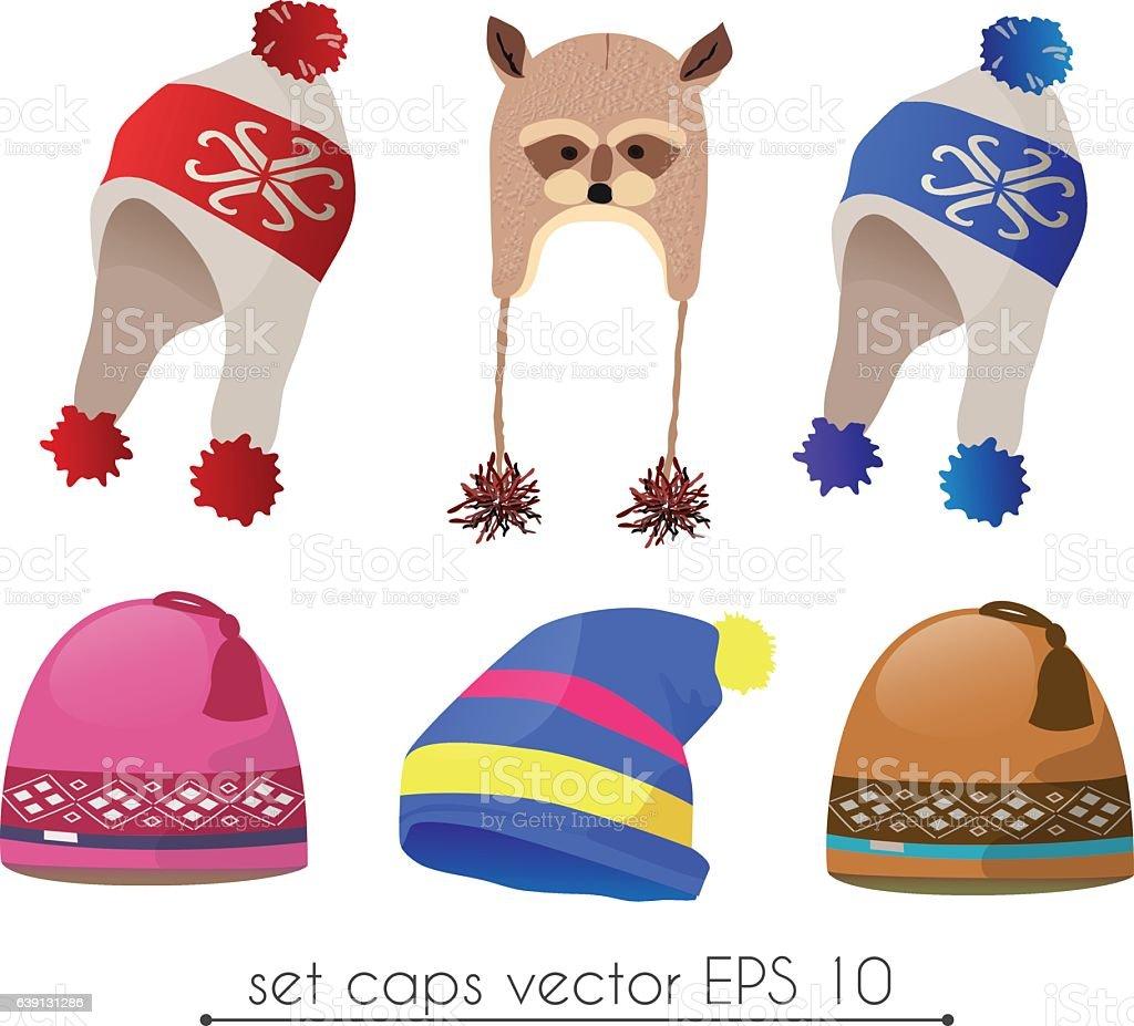 Vector set of realistic winter hat fancy vector art illustration