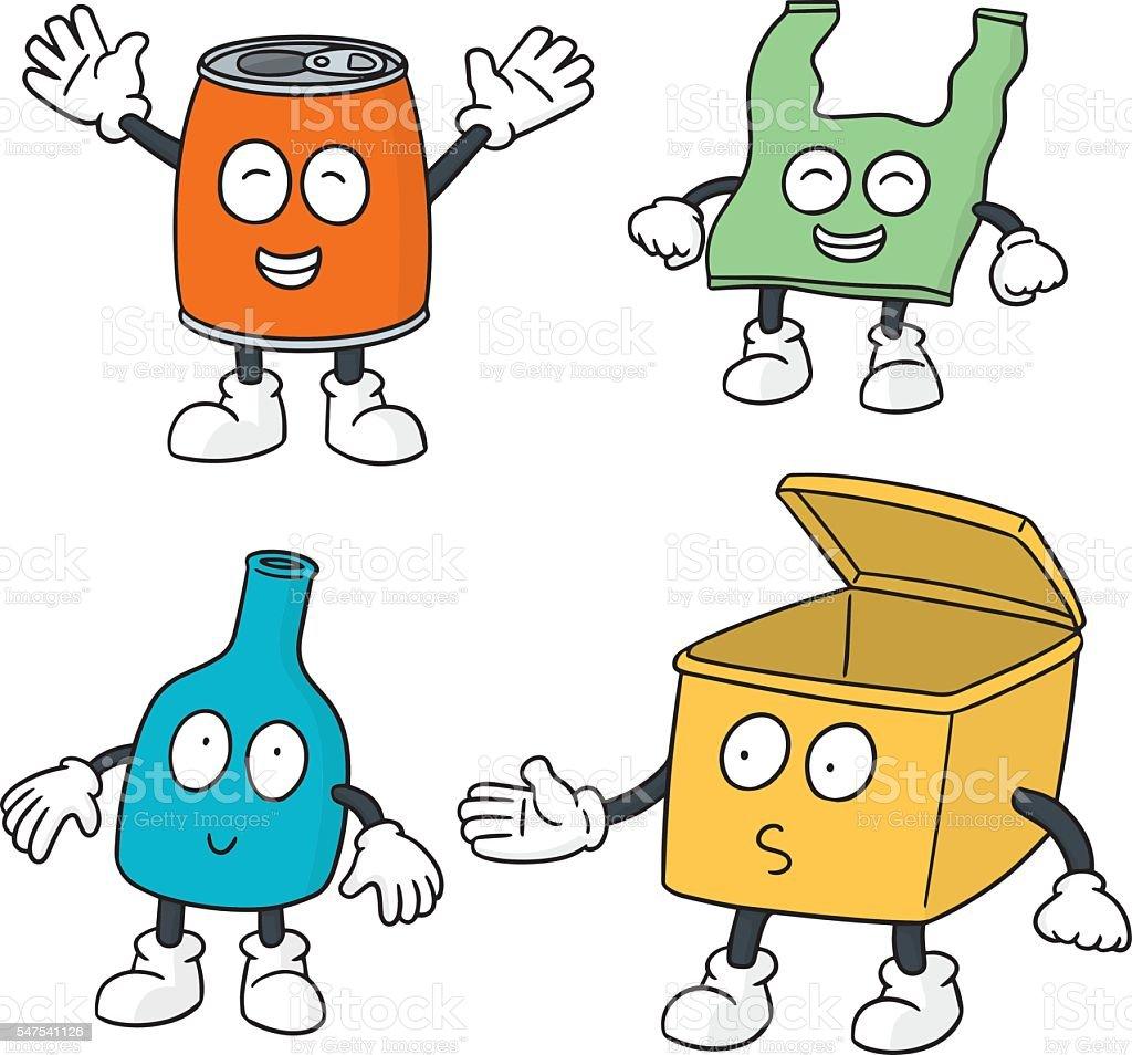 vector set of recycle garbage cartoon - Illustration vectorielle