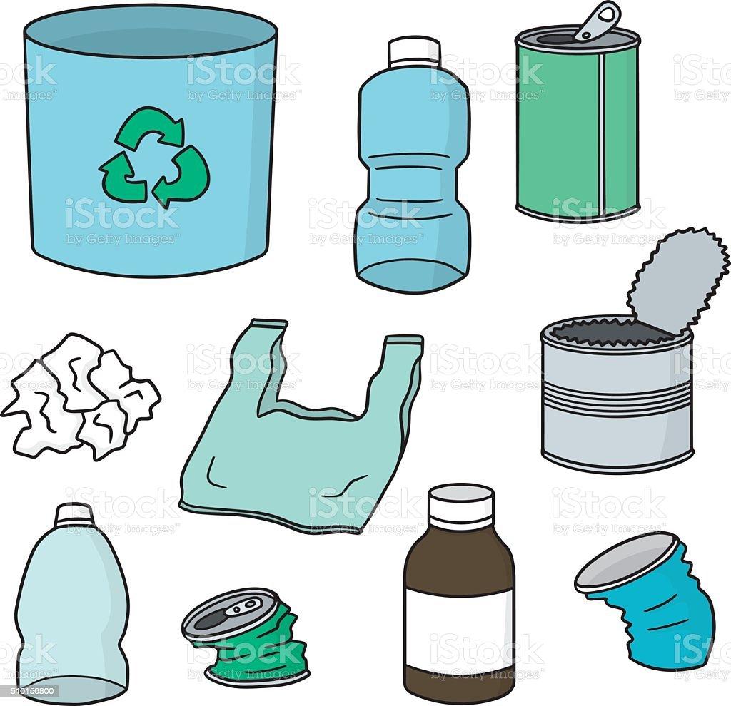 Vector E Sanitary Service : 벡터 세트마다 재활용하다 쓰레기 가방에 대한 스톡 아트 및 기타 이미지 istock
