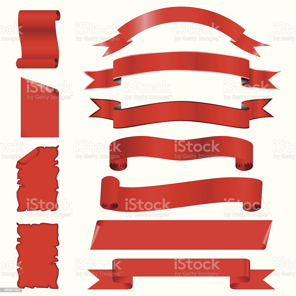 vector set of red blanked bows, ribbons, banners and pages - Royalty-free Art stock vector