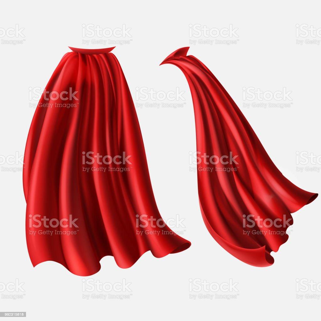Vector set of red cloaks, flowing silk fabrics vector art illustration
