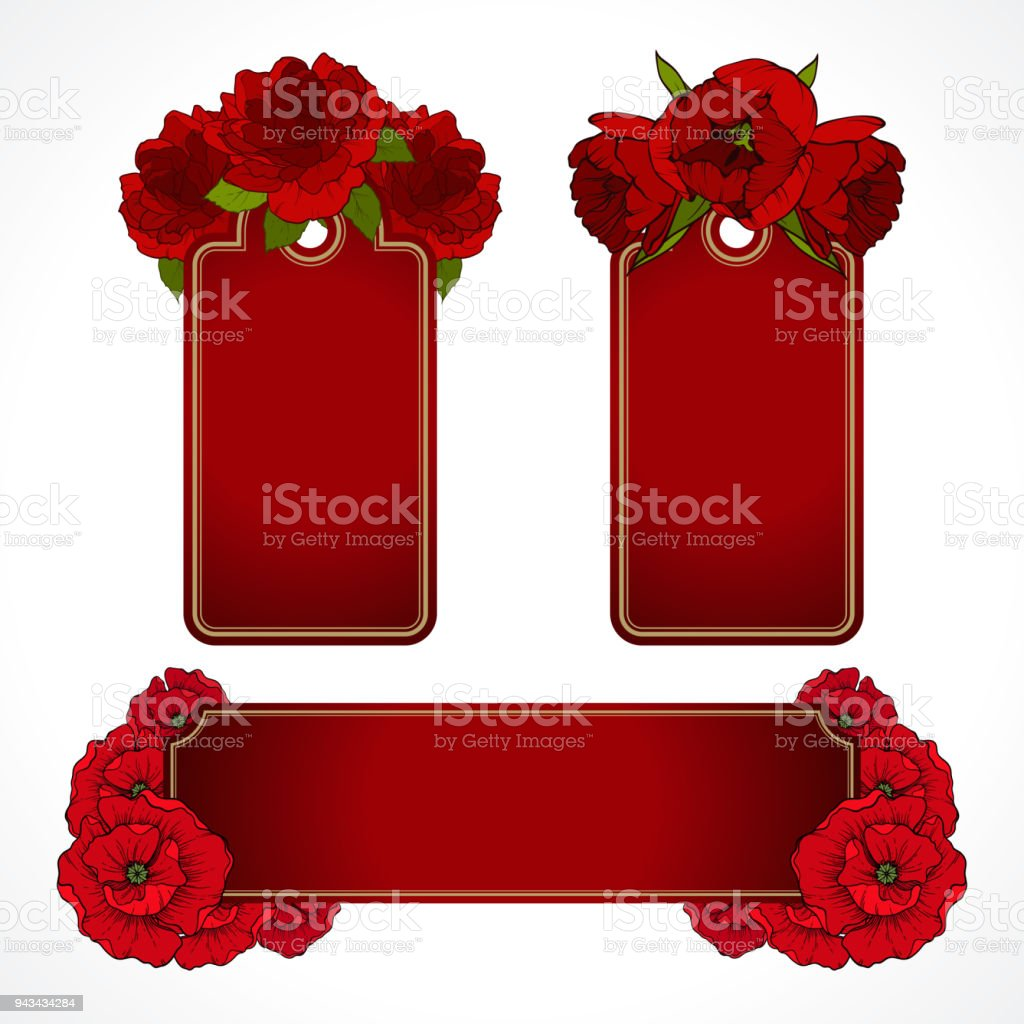 Vector Set Of Red Floral Banners Tags Labels Greeting Card ...