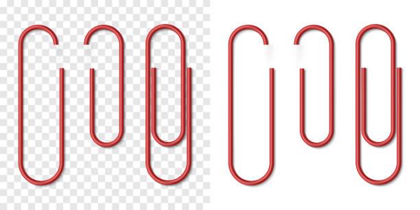 빨간색 금속 현실적인 종이 클립의 벡터 세트 - 종이 클립 stock illustrations