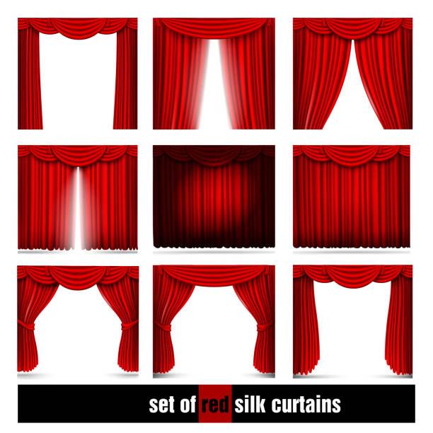 Vecteur série de rideaux en soie rouge de lumière et les ombres - Illustration vectorielle