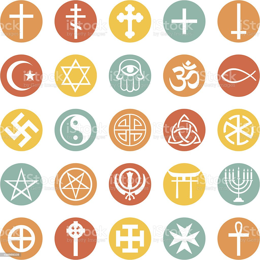 Vector Set of Religious Symbols vector art illustration