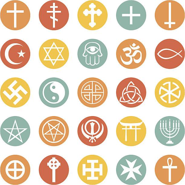 vector set of religious symbols - religious symbols stock illustrations, clip art, cartoons, & icons
