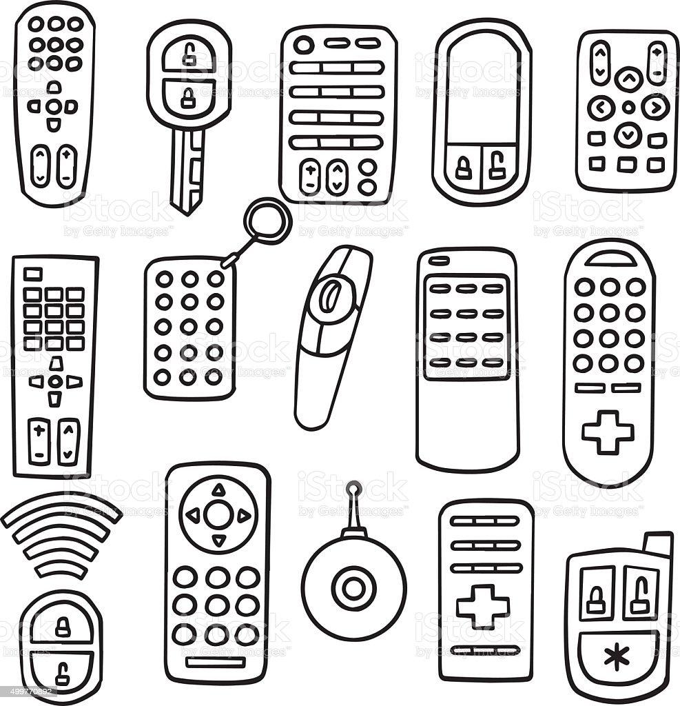 vector set of remote control vector art illustration