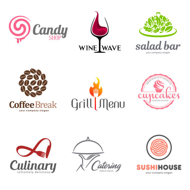 vector set of restaurant emblem design. eco food, wine, sushi, cupcakes, macaroons, coffee and grill icon. dish elements icon design. - sushi stock illustrations