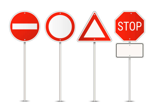 vector set of restriction red and white traffic signs isolated on white background - traffic stock illustrations