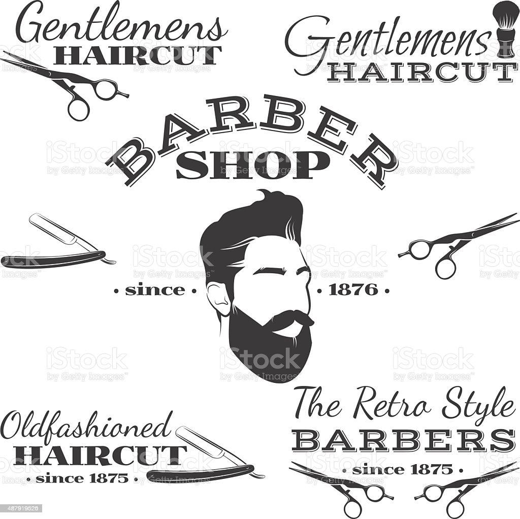 Vector set of retro barber shop logo, labels, badges, design vector art illustration