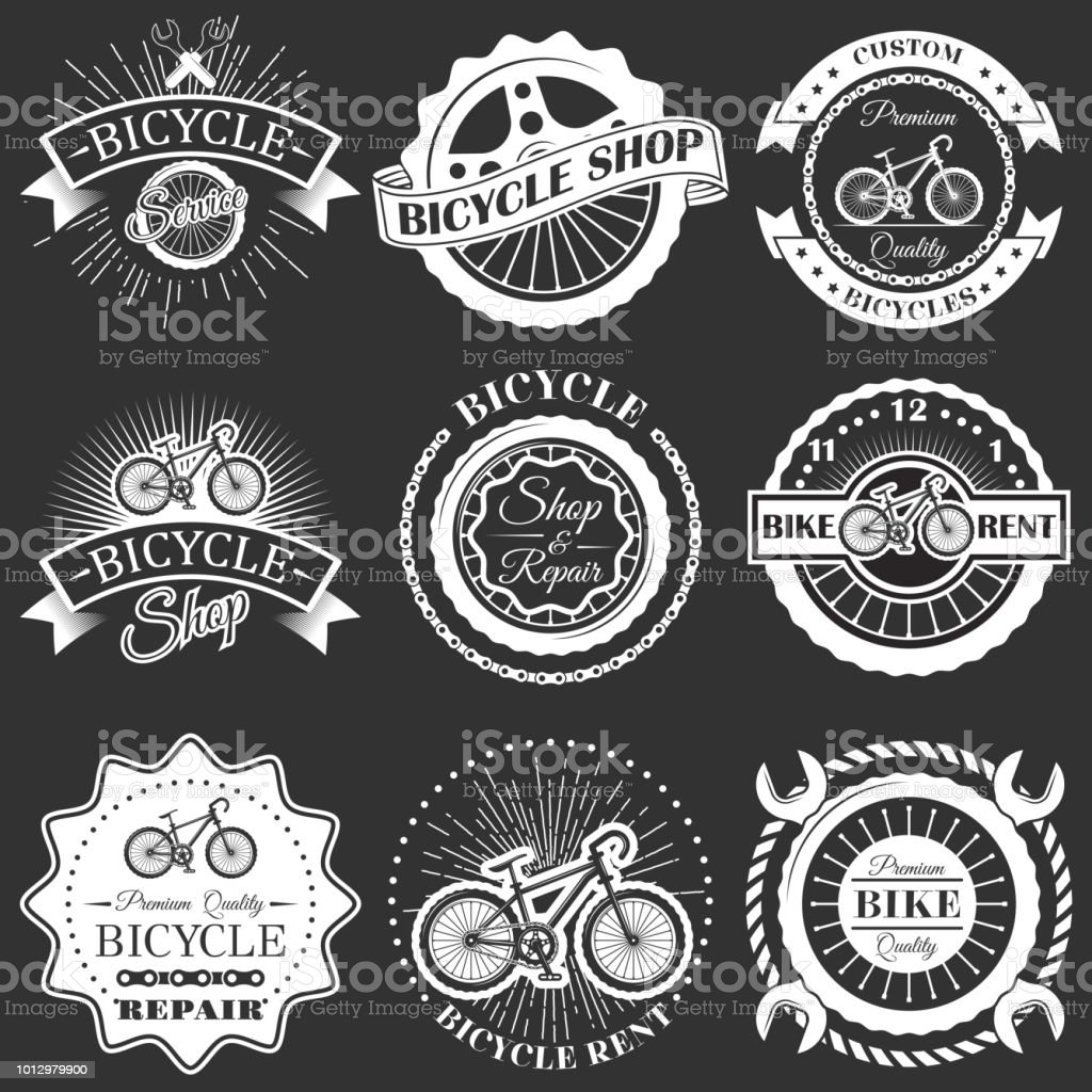 Vector Set Of Retro Bike Shop Repair Labels Badges Stock Illustration -  Download Image Now