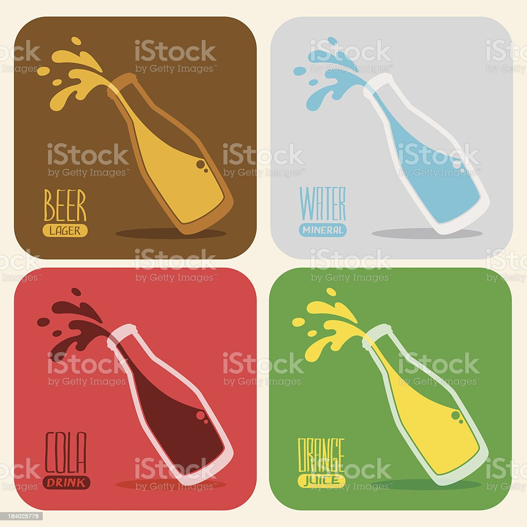 Vector set of retro drinks in a glass bottle vector art illustration
