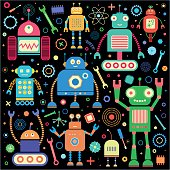 Vector set of retro robots. Retro robots isolated on black background. Child toys.
