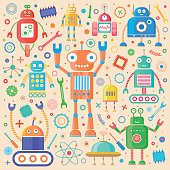 Vector set of retro robots