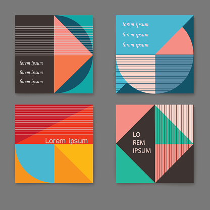 Vector set of retro trendy cards with geometric shapes