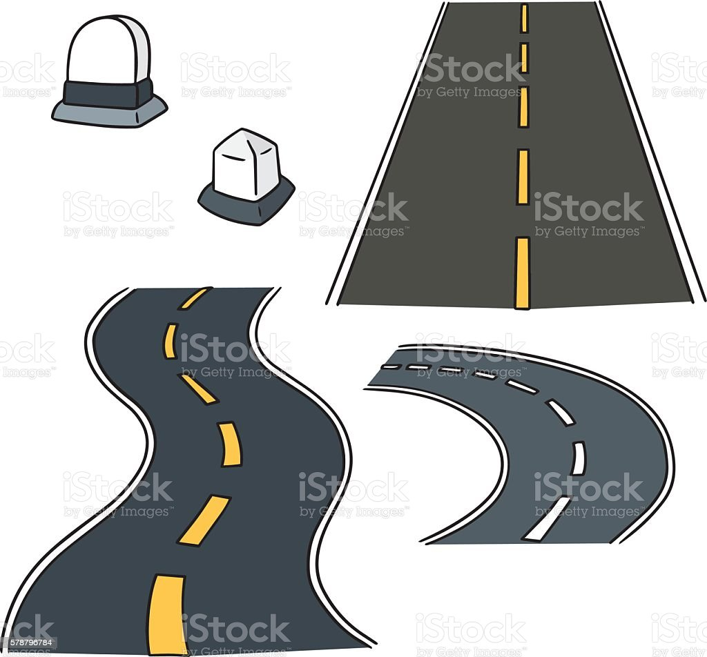 vector set of road and milestone vector art illustration