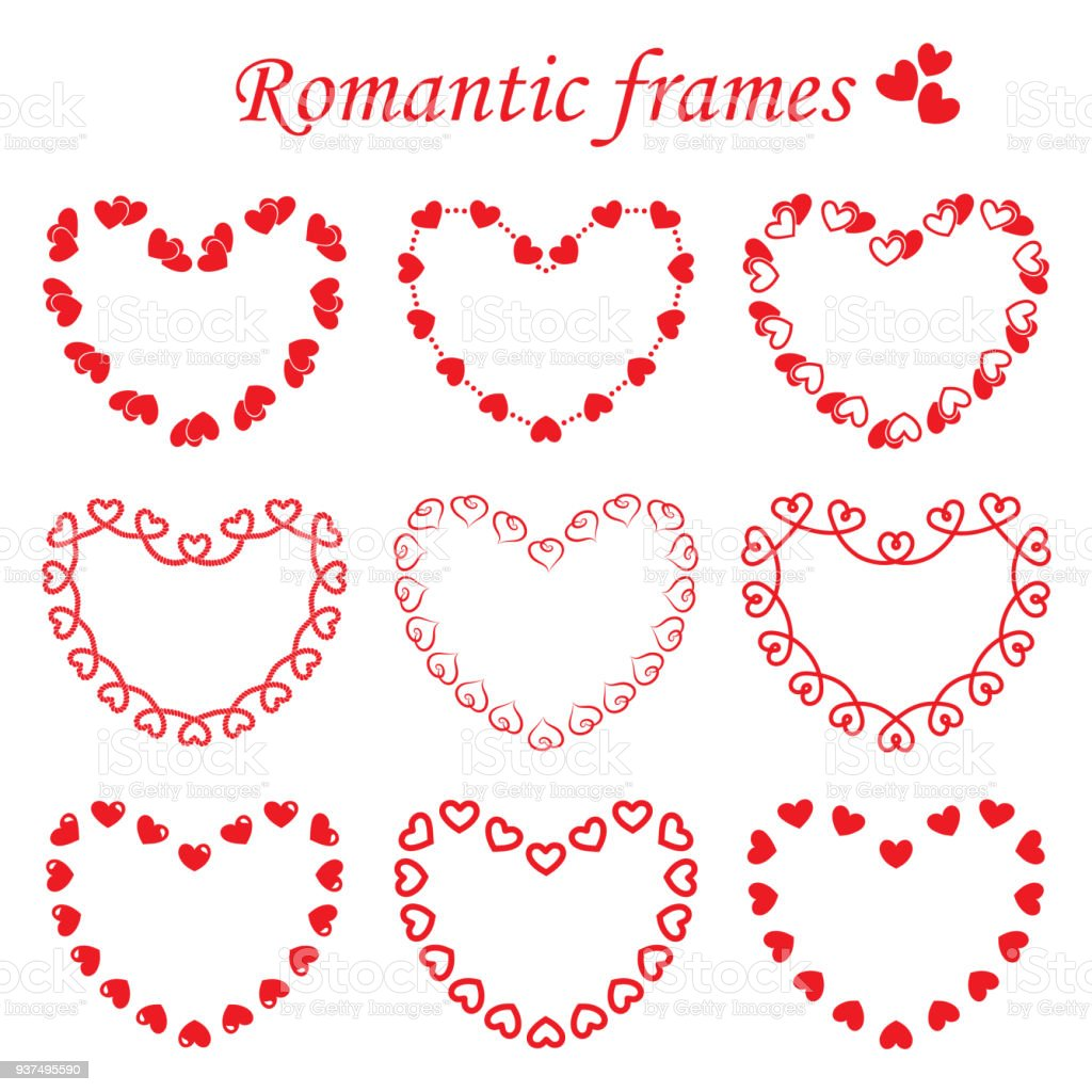 Vector Set Of Romantic Frames Stock Vector Art & More Images of ...