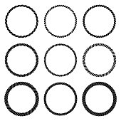 Vector set of round black monochrome rope frame in marine style. Collection of thick and thin circles isolated on the white background consisting of braided cord