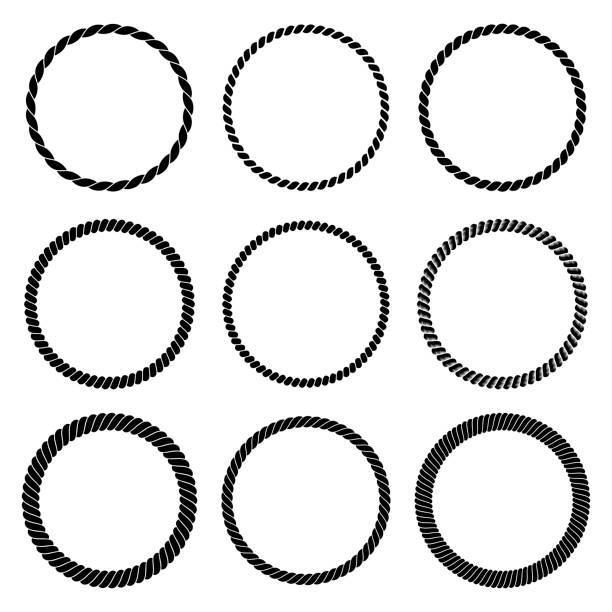 stockillustraties, clipart, cartoons en iconen met vector set van ronde zwart zwart-wit touw frame in marine stijl. collectie van dikke en dunne cirkels geïsoleerd op de witte achtergrond dat bestaat uit gevlochten koord - touw