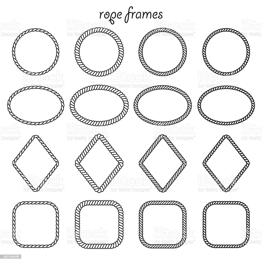 Vector Set Of Round Oval Square And Rhombus Shape Frame From Rope ...