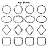 Vector set of round, oval, square and rhombus shape frame from rope isolated on white background