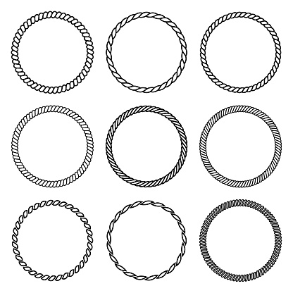 Vector set of round rope frame in marine style. Collection of thick and thin circles isolated on the white background consisting of braided cord and string