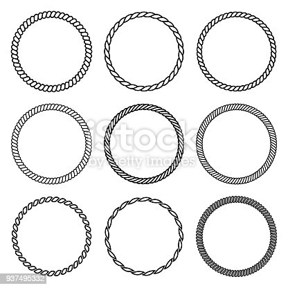 Vector set of round rope frame. Collection of thick and thin circles isolated on the white background consisting of braided cord and string. For decoration and design in marine style