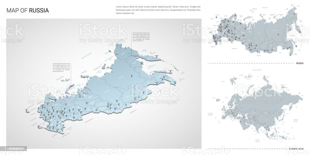 Vector Set Of Russia Country Isometric 3d Map Russia Map ...