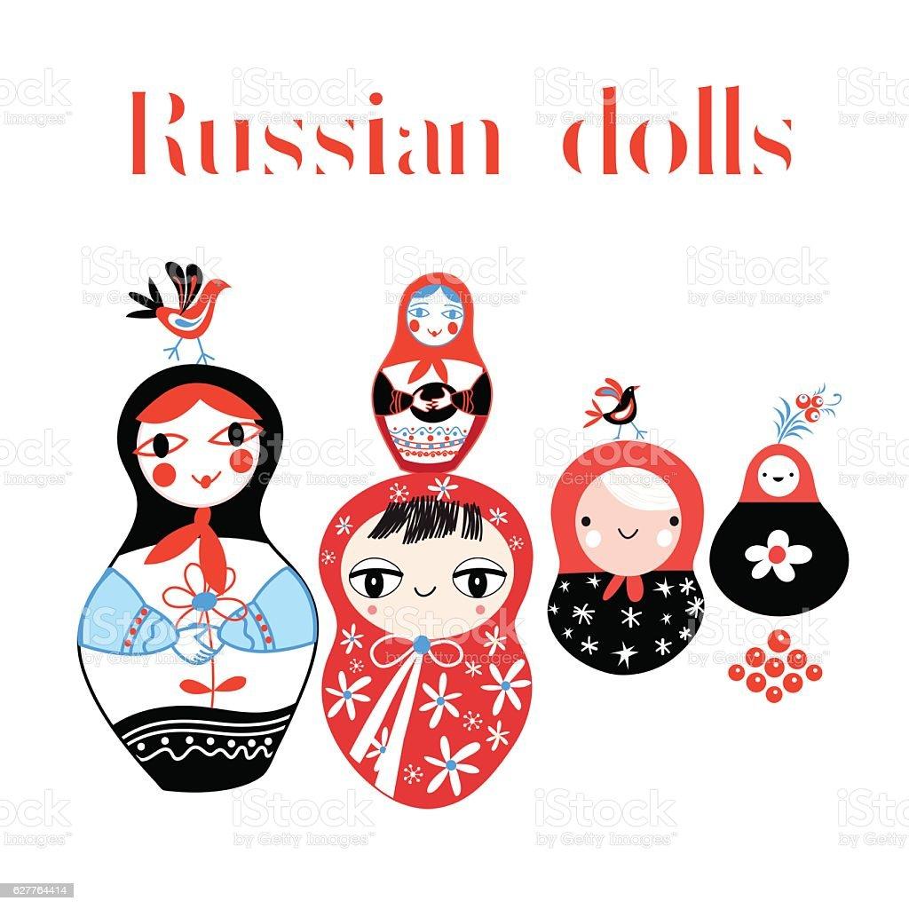 Vector set of Russian dolls vector art illustration