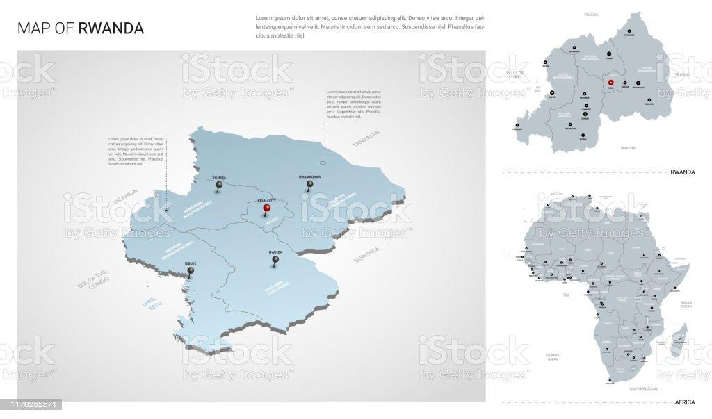 Africa Map Showing Rwanda.Vector Set Of Rwanda Country Isometric 3d Map Rwanda Map
