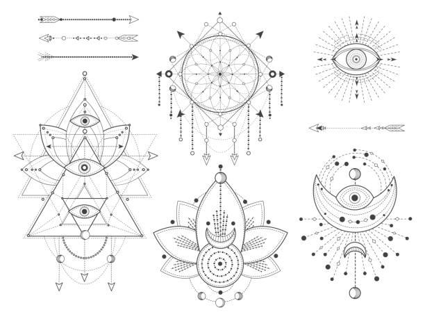 ilustraciones, imágenes clip art, dibujos animados e iconos de stock de conjunto vectorial de símbolos naturales y geométricos sagrados sobre fondo blanco. colección de signos místicos abstractos. - tatuajes de luna