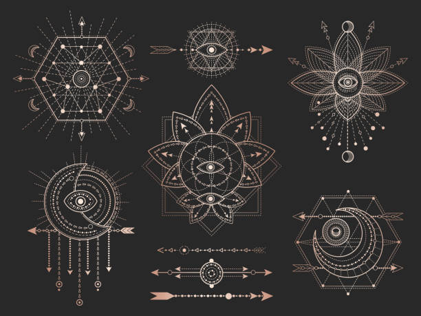 Vector set of Sacred geometric symbols and figures on black background. Gold abstract mystic signs collection. Vector set of Sacred geometric symbols and figures on black background. Gold abstract mystic signs collection drawn in lines. For you design: tattoo, print, posters, t shirts, textiles and magic craft. good luck charm stock illustrations