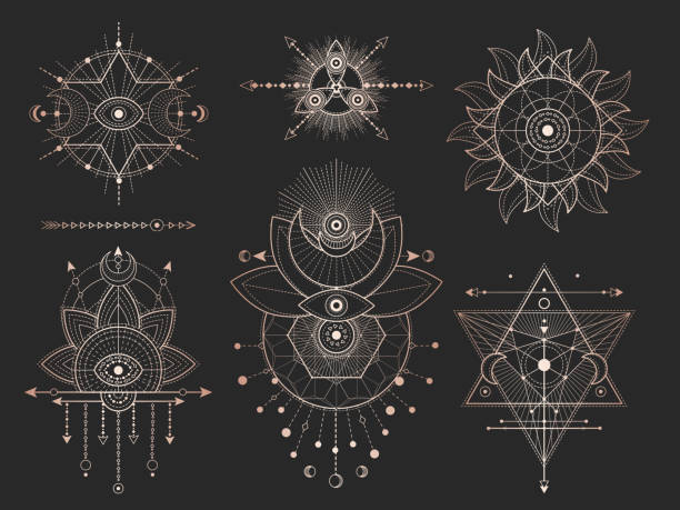 Vector set of Sacred geometric symbols and figures on black background. Gold abstract mystic signs collection. Vector set of Sacred geometric symbols and figures on black background. Gold abstract mystic signs collection drawn in lines. For you design: tattoo, print, posters, t shirts, textiles and magic craft alchemy stock illustrations