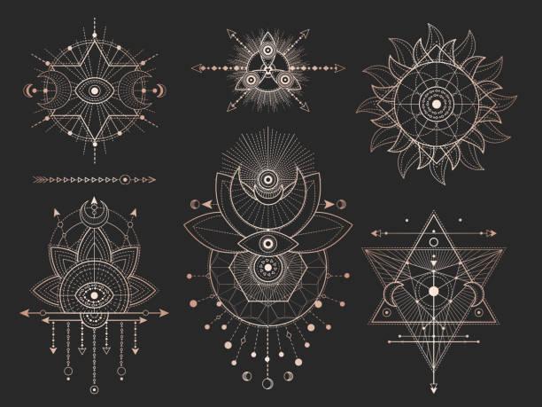 ilustrações de stock, clip art, desenhos animados e ícones de vector set of sacred geometric symbols and figures on black background. gold abstract mystic signs collection. - perto de deus