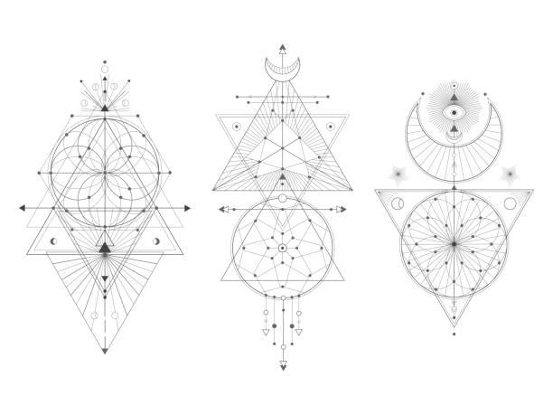 ilustraciones, imágenes clip art, dibujos animados e iconos de stock de conjunto vectorial de símbolos geométricos sagrados sobre fondo blanco. colección de signos místicos abstractos. - tatuajes de luna